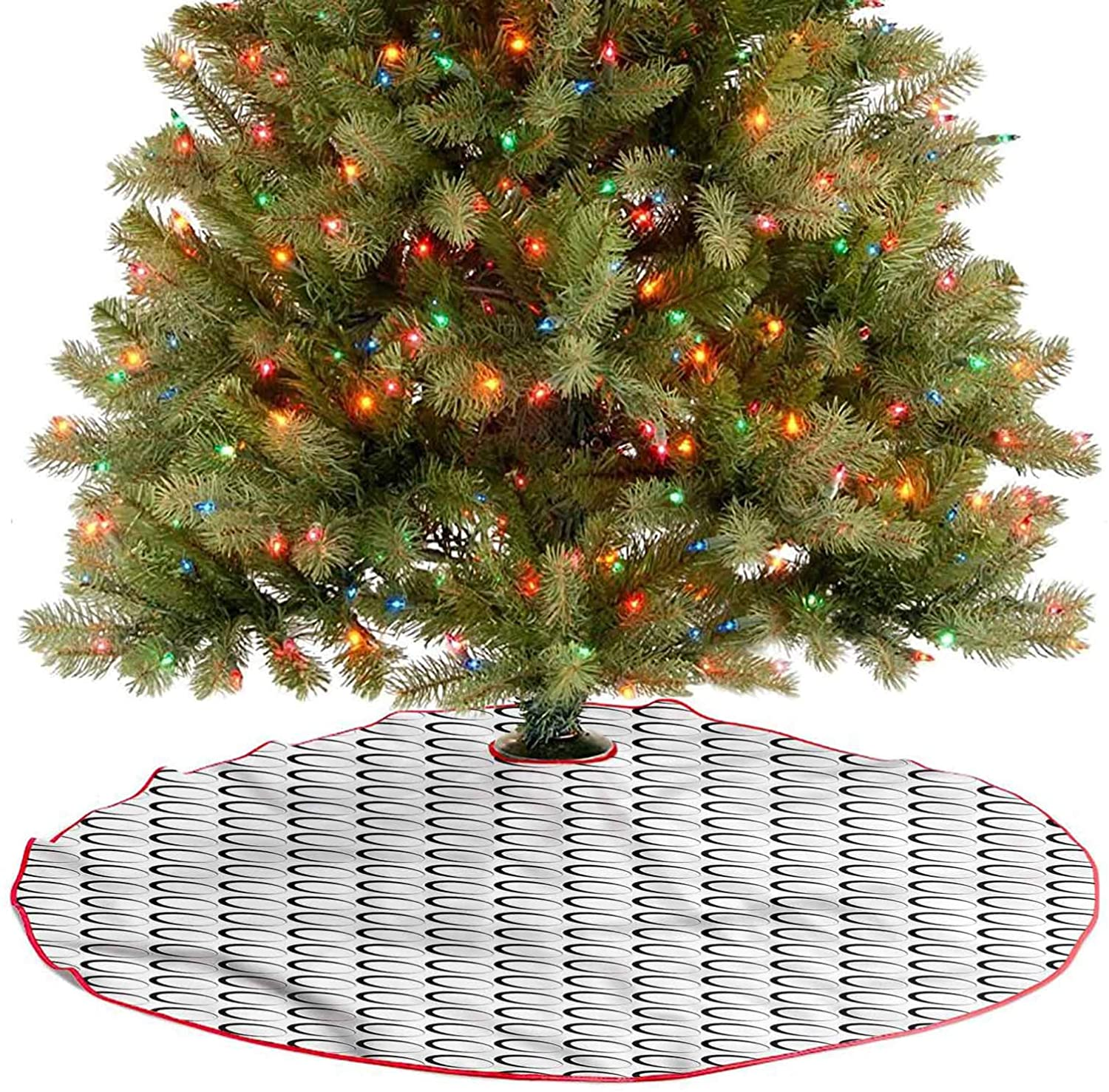 ThinkingPower Soft Christmas Tree Mat Slanted Ovals Christmas Trees Mat Decorations Indoors for Xmas Decor Festive Holiday Decoration Diameter - 36 Inch
