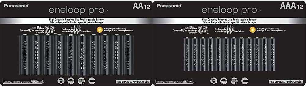 Panasonic BK-3HCCA12FA eneloop Pro AA High Capacity Ni-MH Pre-Charged Rechargeable Batteries, 12 Pack & BK-4HCCA12FA eneloop pro AAA High Capacity Ni-MH Pre-Charged Rechargeable Batteries, 12 Pack