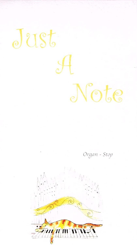 A range of Jill Latter designed Musical Cat notepads-Organ - Stop