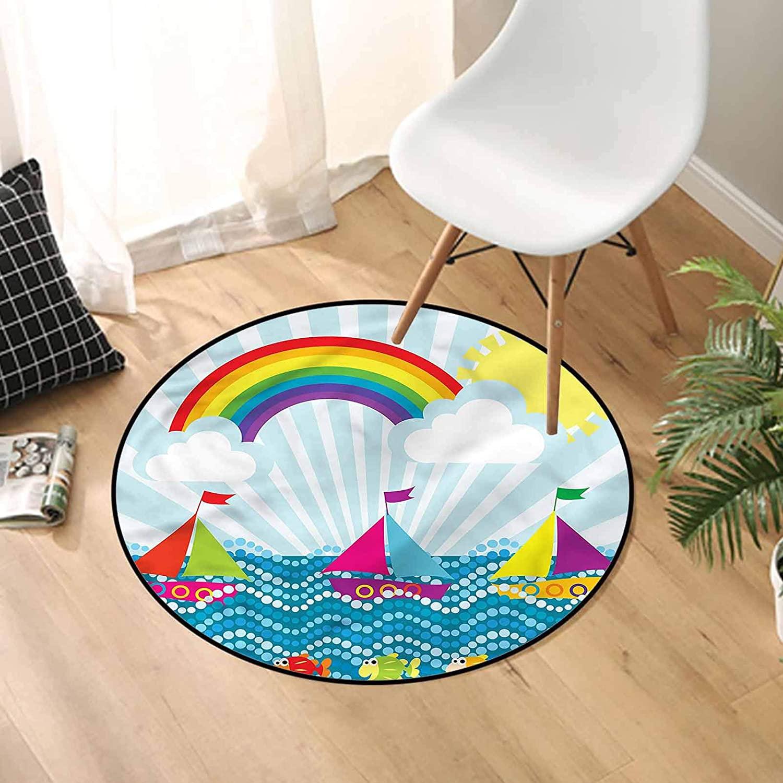Cartoon Round Bathroom Rug 3 Ft, Sealife Inspired View Carpet