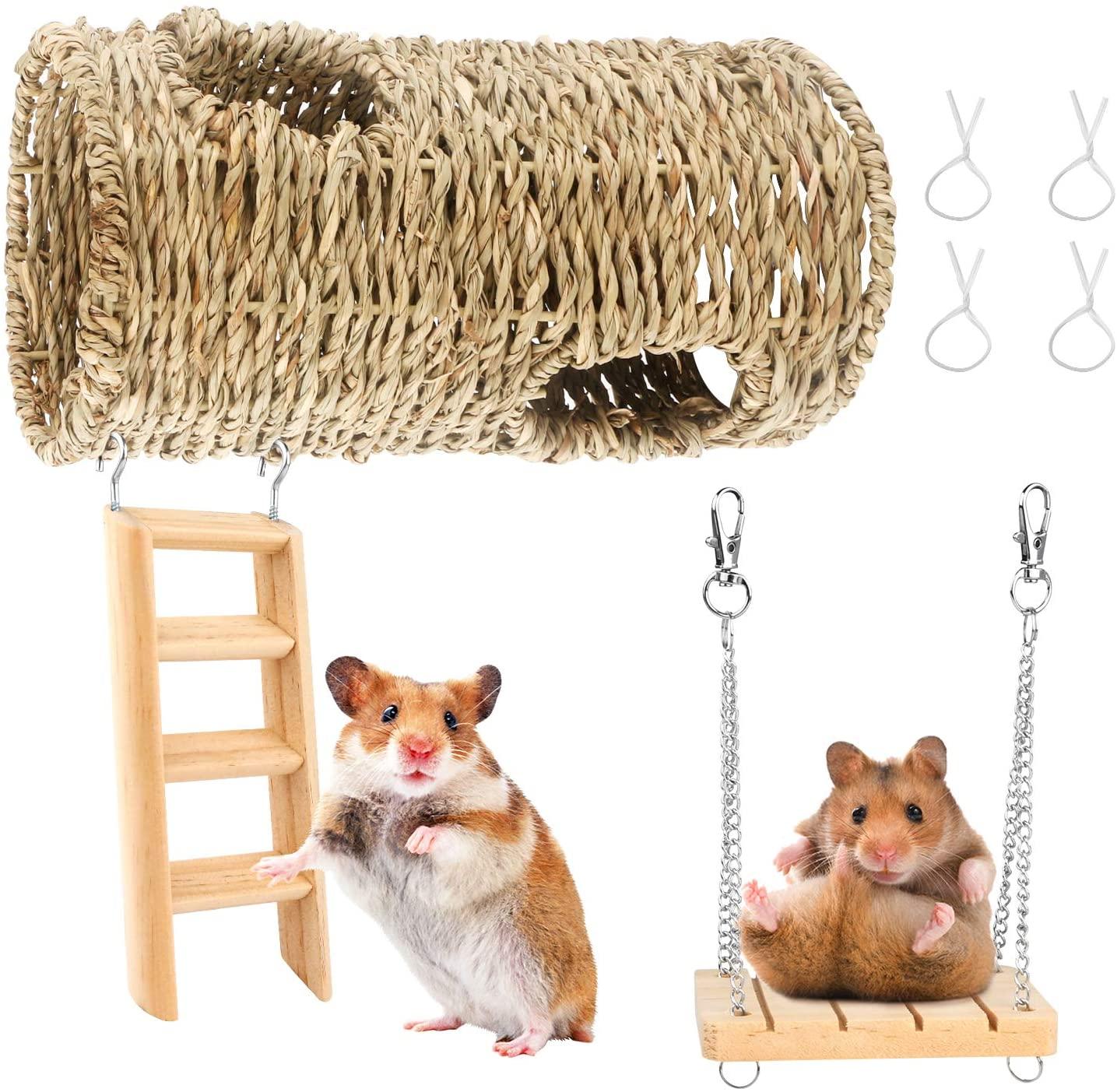 BSMTech Pet Hamster Hammock Hanging Toy Set, Small Pet Cage Hanging Chew Toy, Hamster Small Animal Chew Toy Molar Toy Hammock Ladder Bridge Swing for Sugar Glider Squirrel Chinchilla Hamster Rat