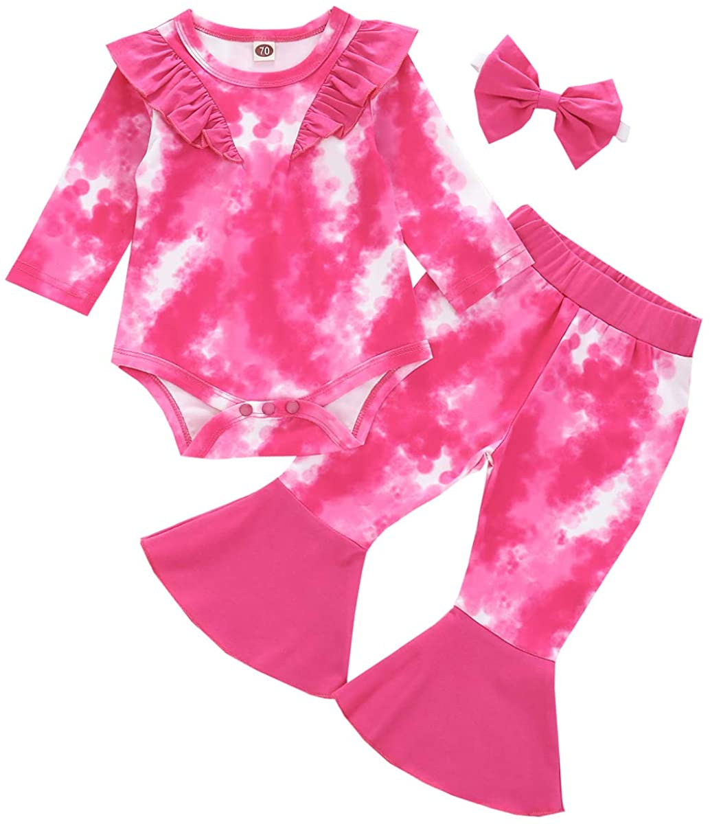 Coralup Baby Girls Tie Dye 3PCS Outfits Ruffle Bell-Bottom Romper and Pants Set with Headband 0-24 Months