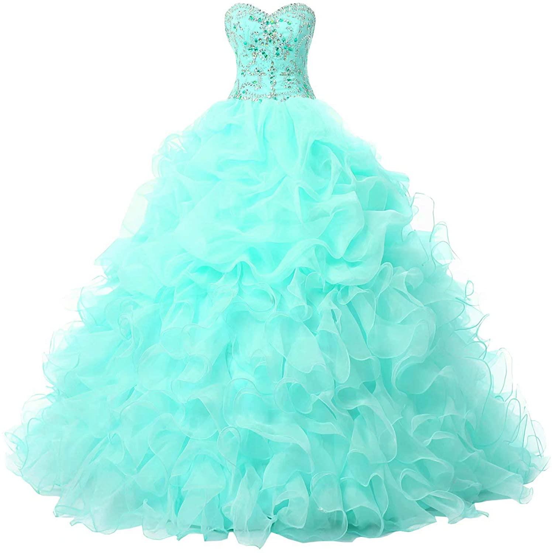 Mollybridal Rhinestones Ruffles Floor Length Quinceanera Prom Dresses 2020