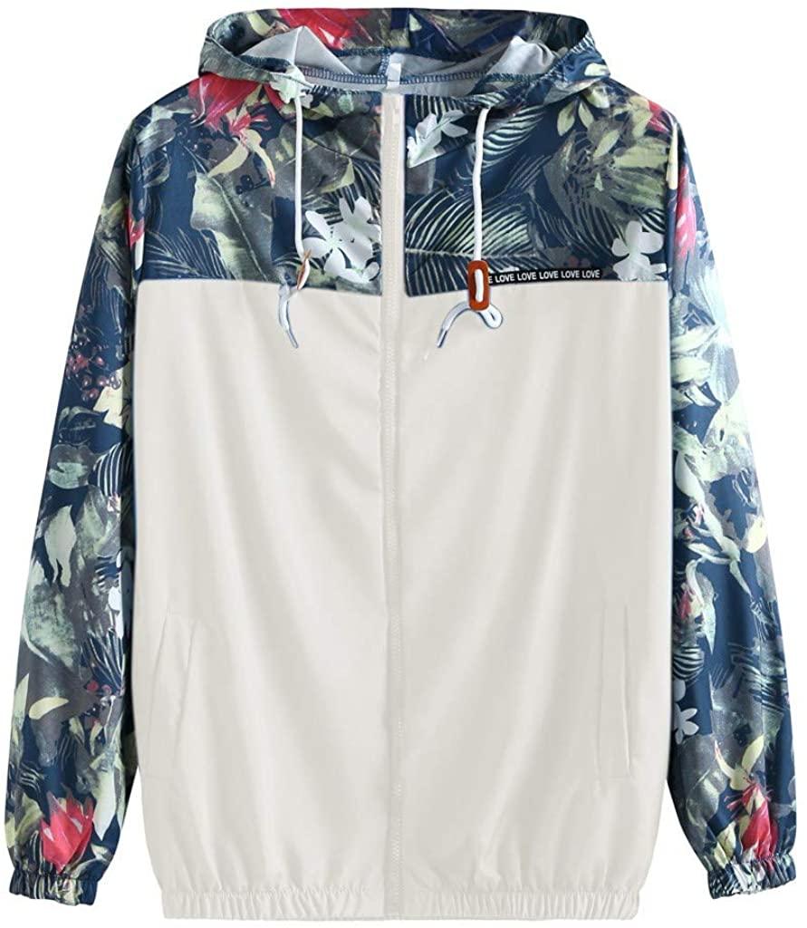 AKIMPE Women's Causal Jakcet Utility Lightweight Floral Print Splice Windbreaker Hooded Trench Coat with Pocket