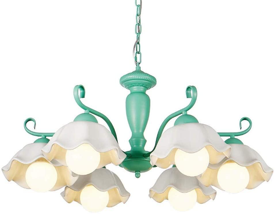 Children's Room Chandelier Ceramic Lampshade Ceiling Pendant Light Fixture 6 Lamp Head Sweet Romantic,Green