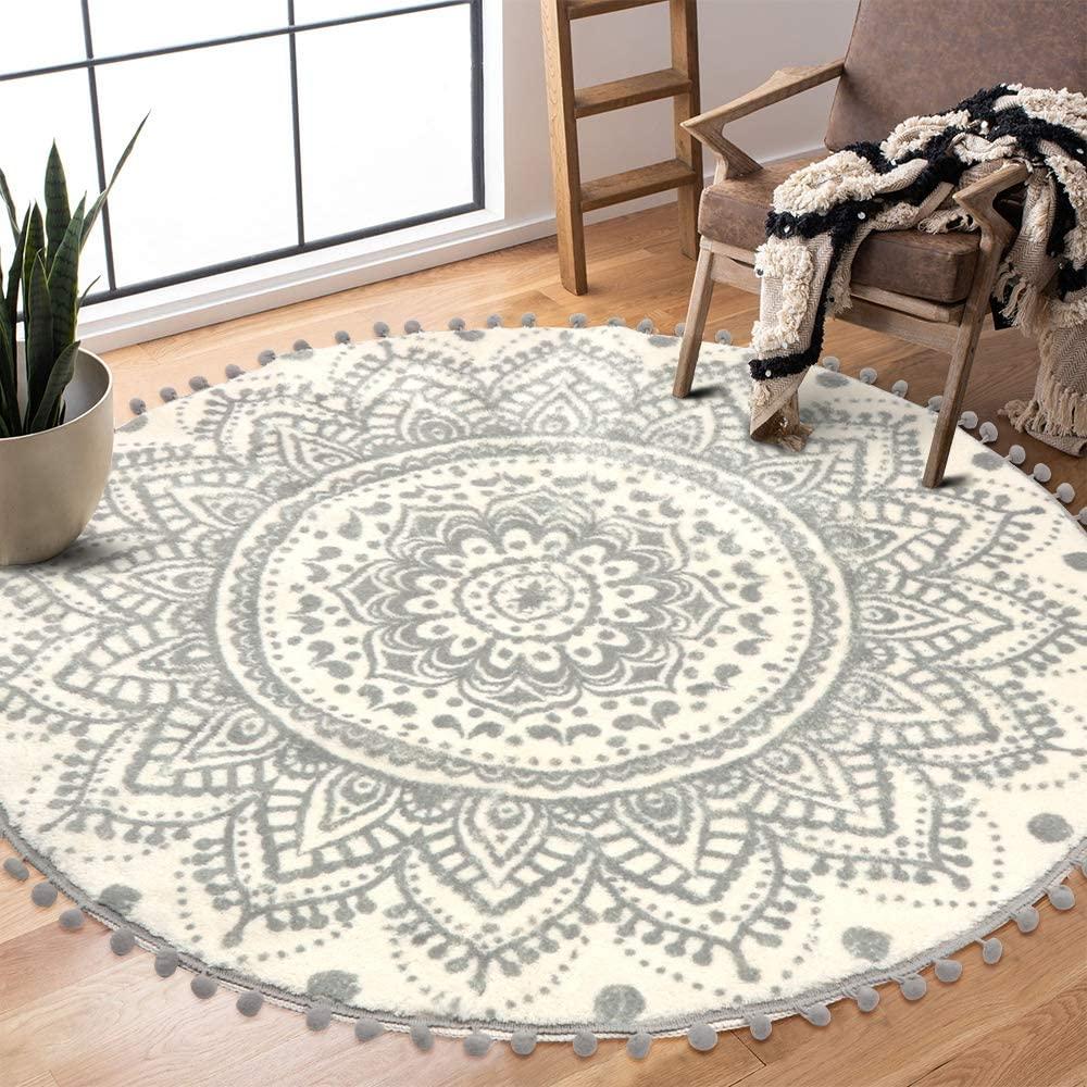 Uphome Round Area Rug 4' Diameter with Chic Pom Pom Fringe Boho Gray Mandala Velvet Accent Throw Rugs Non-Slip Soft Floor Carpet for Living Room Bedroom Nursery Decor