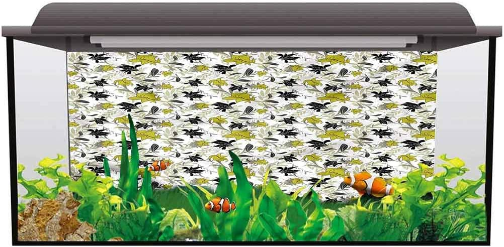 bybyhome Fish Tank Poster Floral,Botanical Blooms Cartoon Decals Sticker