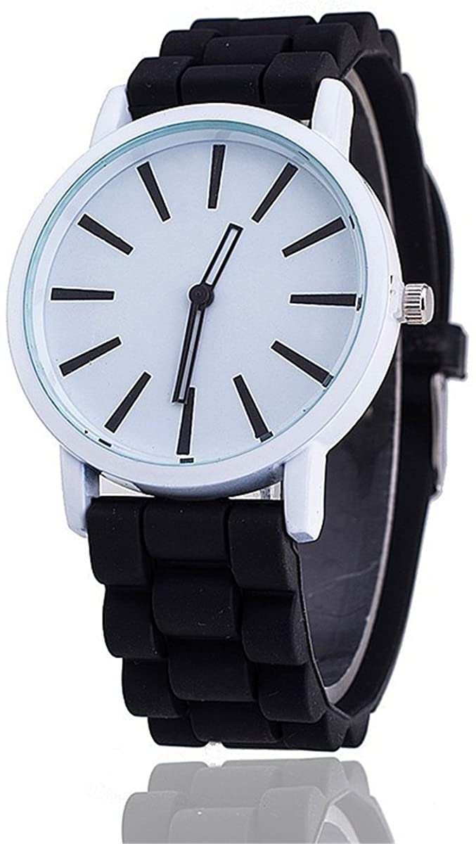 MyWatchBePoppin Men's or Women's Unisex Neon Jelly Band Wrist Watch [Ebony Black]