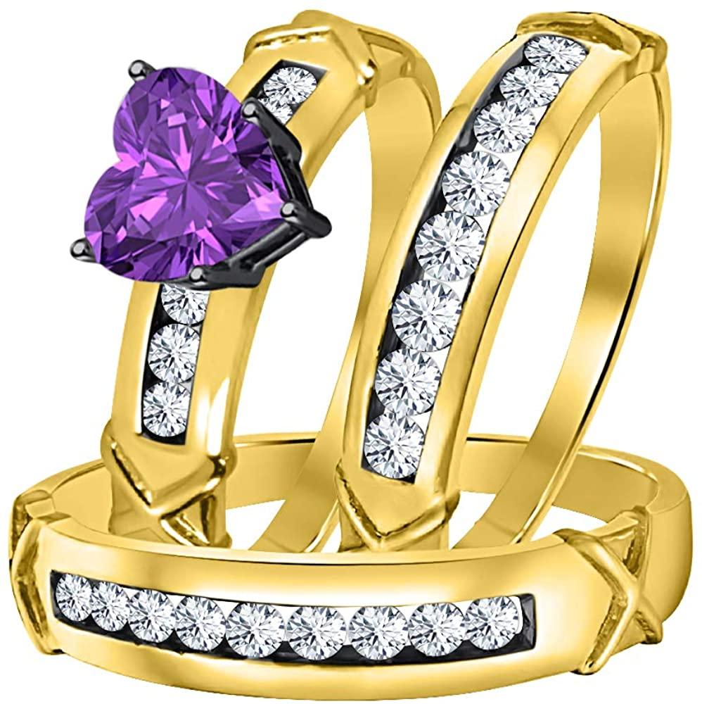 Gold & Diamonds Jewellery 3.00Ctw Heart Shaped Purple Amethyst & White CZ Diamond 14k Yellow Gold Plated Engagement & Wedding Ring Trio Bridal Set for Women's & Men's