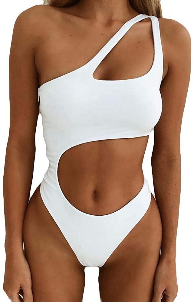 Adeliber Women's Swimwear Sexy Hollow Push-ups Thickening Bra Bikini One-Piece Swimsuit Solid Color Beach Swimwear