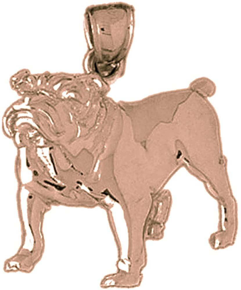 Jewels Obsession Solid 14K Rose Gold Bulldog Pendant - 29 mm