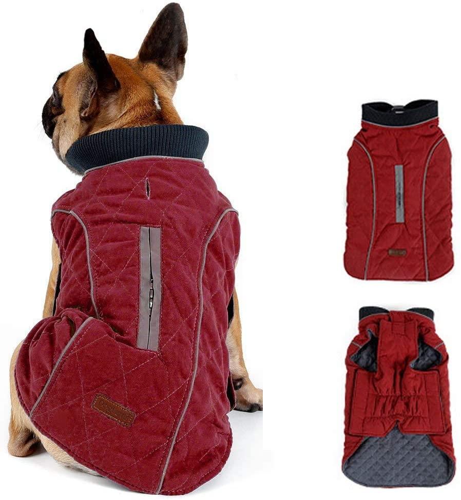 Morezi Retro Design Cozy Winter Dog Pet Jacket Vest Warm Pet Outfit Clothes Pleat Cotton 2 Colors with Harness Hole