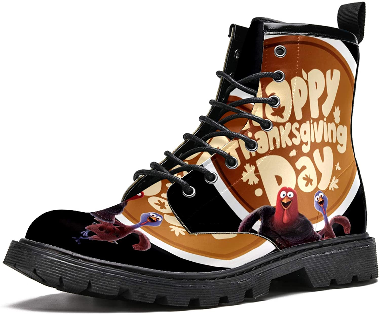 LORVIES Running Turkeys Bring Happy Thanksgiving Men's High Top Boots Lace Up Casual Leather Ankle Shoes