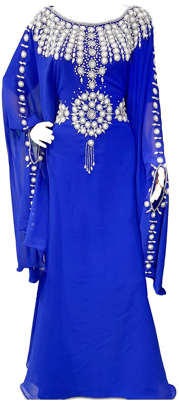 MoVi Fashion Blue and Silver Caftan Dress for Women with Beaded Work African Dress Moroccan Kaftan Abaya Dubai Dress