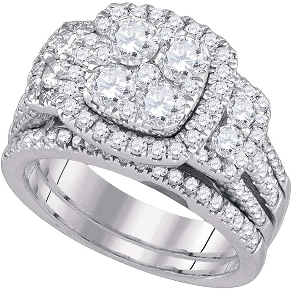 Diamond Cluster Engagement Ring + Wedding Band Bridal Set.00ct 14k White Gold