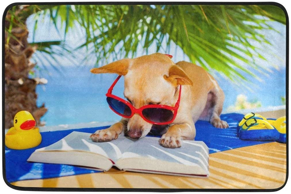 Summer Palm Tree Chihuahua Dog Reading Book Door Mat Entry Rugs Doormats Welcome Floor Mats Carpet For Inside House, Front Back Door, Entrance Way Outdoor, Entryway Indoor, Garage, Outside, Patio