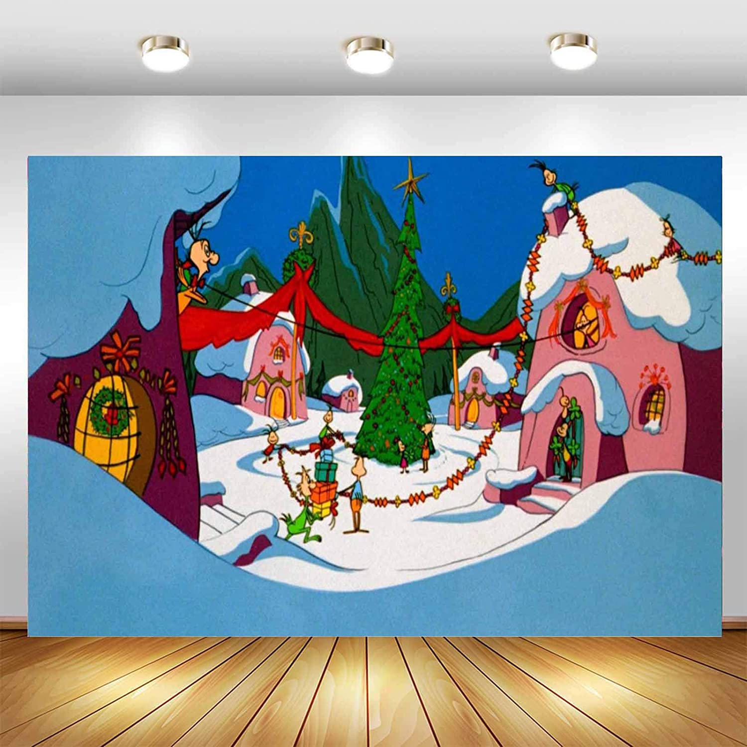 Cartoon Background The Grinch Backdrop Christmas Theme Party Supplies Decorations Photograph Banner Photo Studio Backdrop Winter Snow Background Vinyl Baby Shower Backdrop Indoor Party