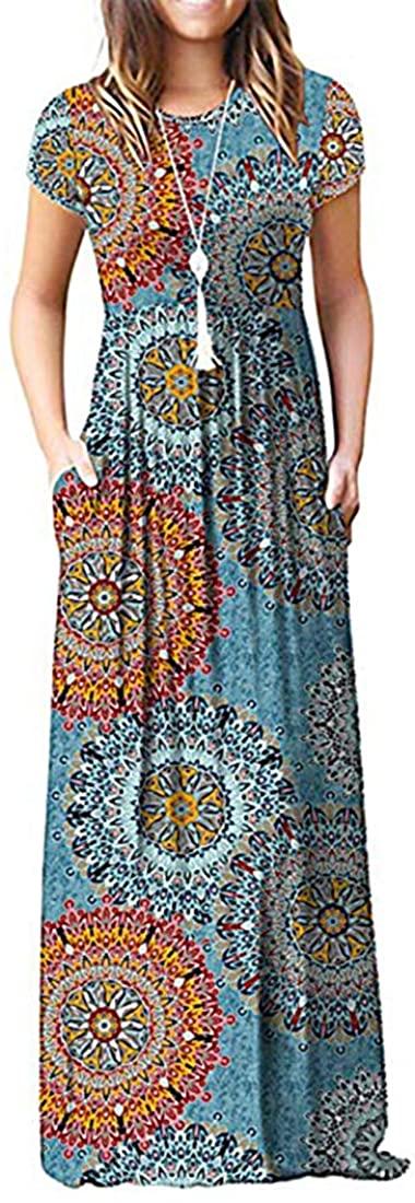 DOMILINA Women Short Sleeve Loose Plain Maxi Dresses Casual Long Dresses with Pockets