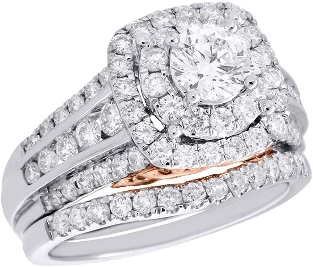 14K White Gold 5/8 ct. Solitaire Round Diamond Wedding Ring Bridal Set 2ct. t.w.