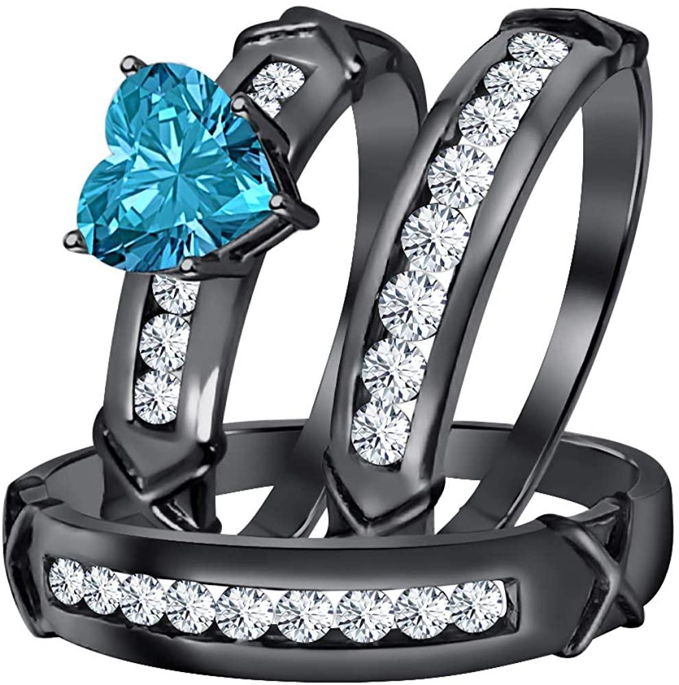 Gold & Diamonds Jewellery 3.00Ctw Heart Shaped Swiss Blue Topaz & White CZ Diamond 14k Black Gold Plated Engagement & Wedding Ring Trio Bridal Set for Women's & Men's