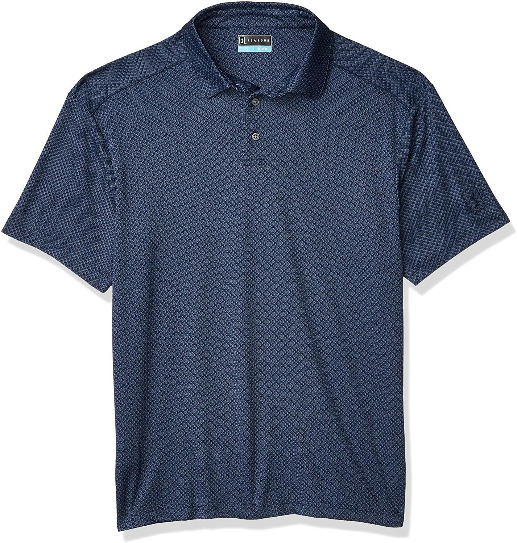 PGA TOUR Men's Short Sleeve Jacquard Polo Shirt