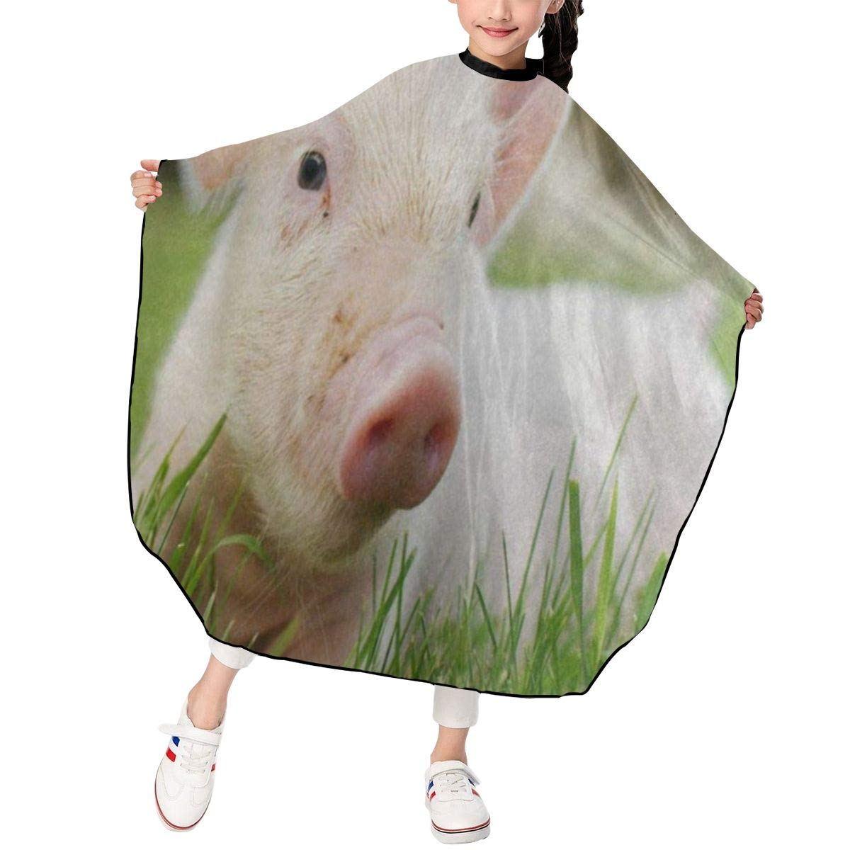 Barber Cape for Kids - Professional Hair Salon Cape with Adjustable Snap Closure Waterproof Hair Cutting Cape for Salon and Home 47 x 39 inches Pig Piggy Standing On Grass