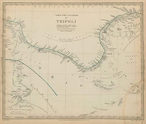 North Africa or Barbary. Tripoli. Libya Gulf of Sidra Sirte Fezzan SDUK - 1844 - Old map - Antique map - Vintage map - Printed maps of Libya