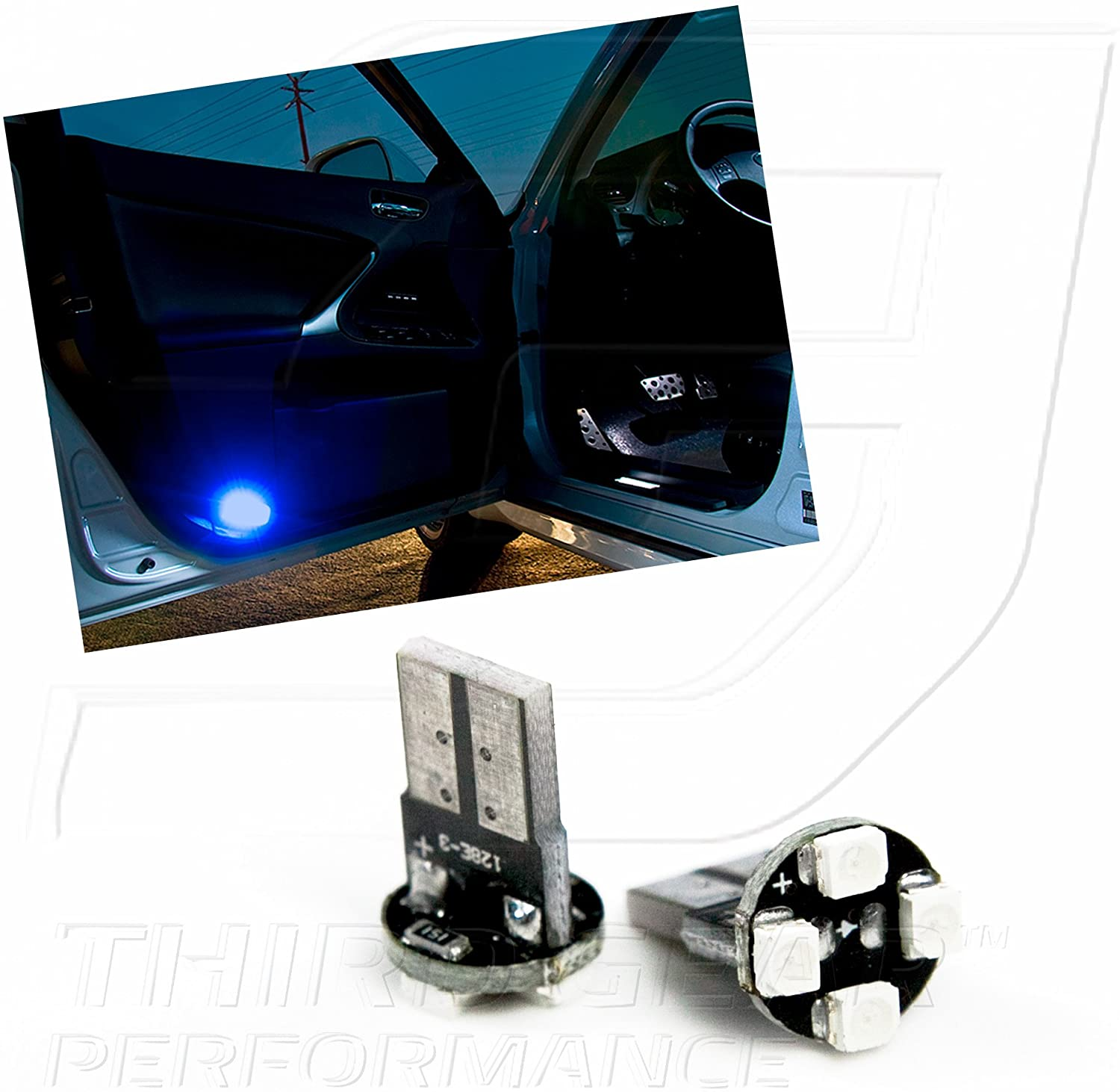 TGP T10 Blue 4 LED SMD Door Light Wedge Light Bulbs Pair 2007-2011 Compatible with Toyota Camry