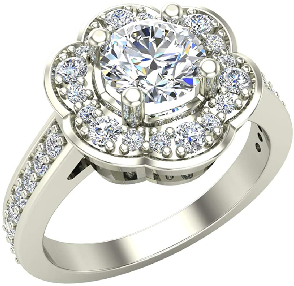 Solitaire Diamond Floral Halo Wedding Ring 18K Gold - GIA Certificate