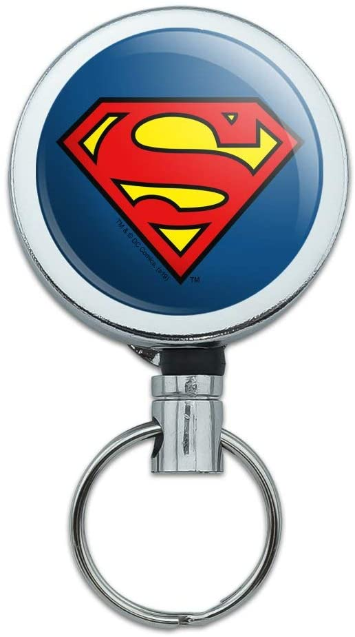 Superman Classic S Shield Logo Heavy Duty Metal Retractable Reel ID Badge Key Card Tag Holder with Belt Clip