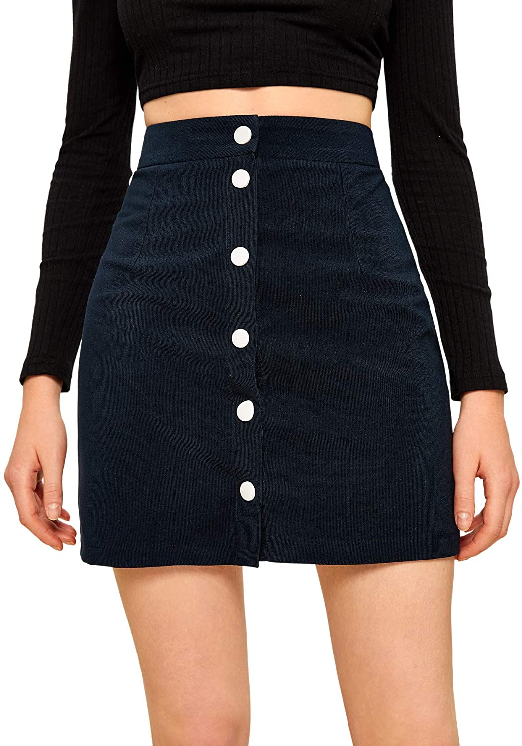 SweatyRocks Women's Casual High Waist Button Down Corduroy A Line Mini Skirt