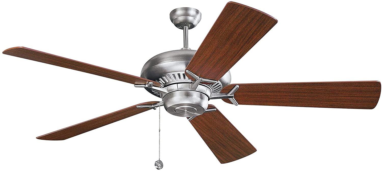 Monte Carlo 5GP60BS Flush Mount, 5 White / Cream Blades Ceiling fan, Brushed Steel