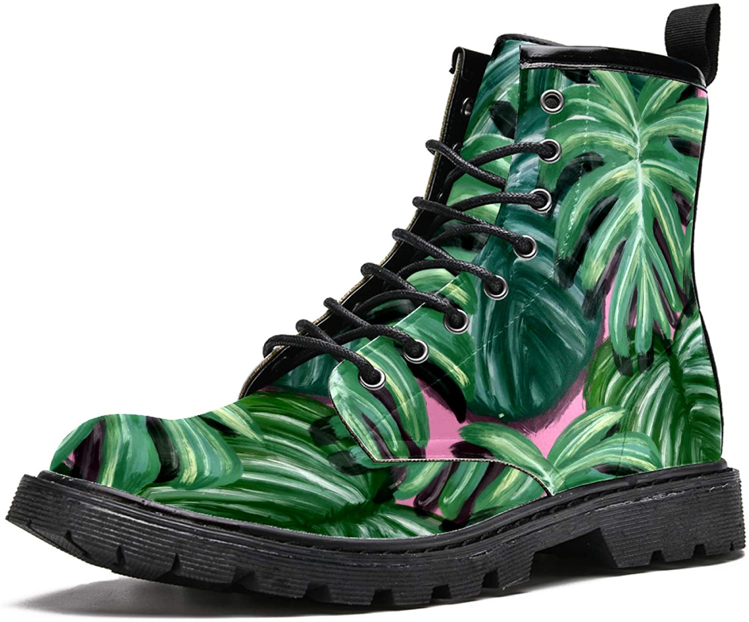 LORVIES Green Palm Leaves Painting Men's High Top Boots Lace Up Casual Leather Ankle Shoes