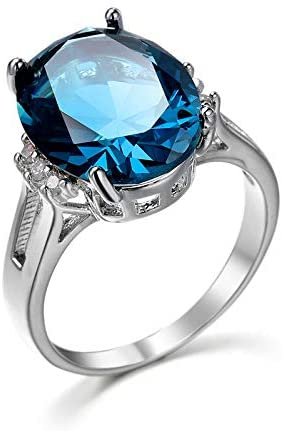 Cutedoumiao Sterling Silver Engagement Wedding Ring with Large Carat Sapphire Cut Cubic Zirconia CZ Gemstones Birthstone Halo Solitaire Engagement Rings (7)