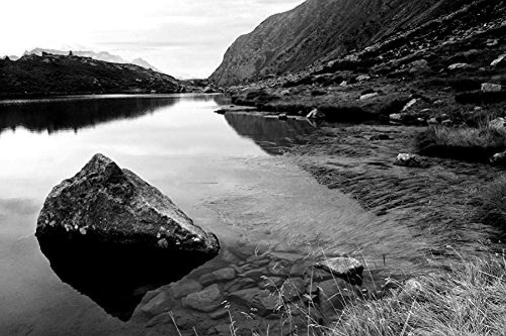 Diuangfoong Mountains The Lake Stones Algas-Nature Art Print On Canvas Rolled Black and White 12x16 Inch Ready to Hang