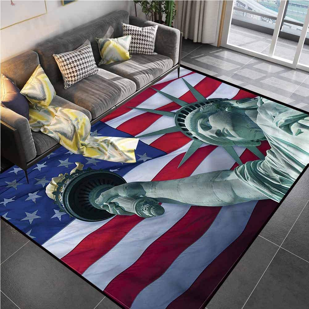 Area Rug Rugs Print Large Floor Mat American Flag,Statue of Liberty Outdoor Rugs for patios for Kids Yoga Living Room Home Decor Rugs 5'7