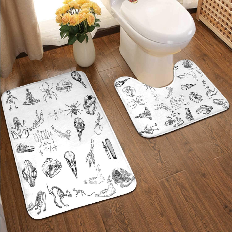 Magic Animal - Design Elements Set.Hand Drawn Sketch for Magician Collection.Witchcraft Spell s,Bathroom Rugs Luxur Bath Mat,Super Absorbent Non-Slip Bath Mats Bird Raven