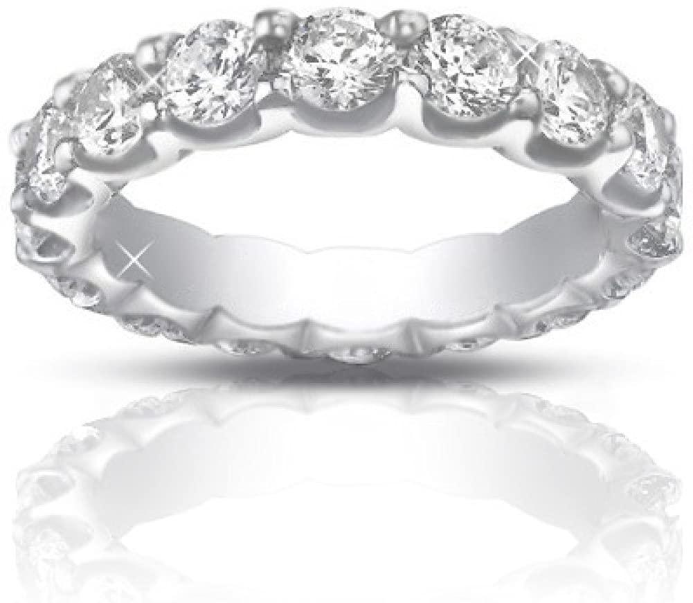 Madina Jewelry 4.00 ct Ladies Round Cut Diamond Eternity Wedding Band Ring in 18 kt White Gold