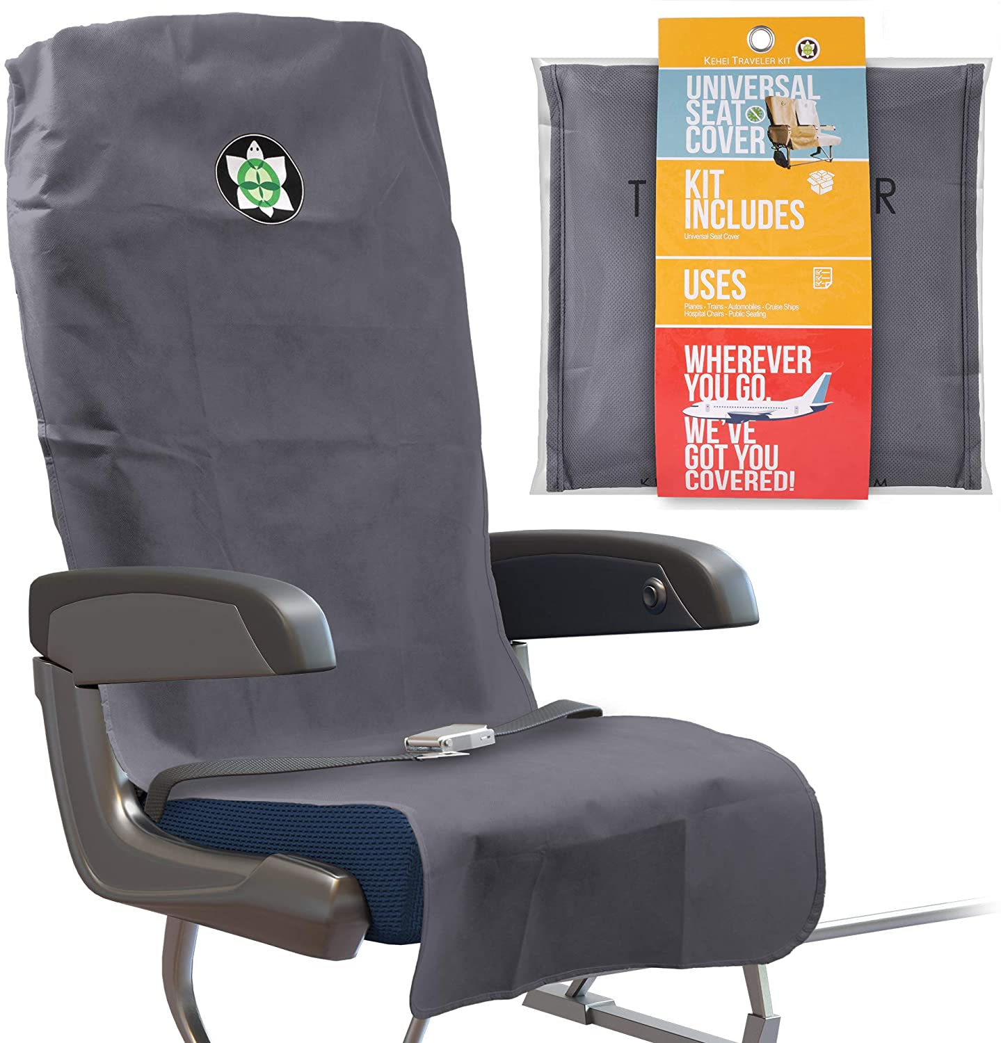 Kehei Traveler Deluxe Protective Universal Seat Cover and Storage Pouch - Lighweight and Portable - Washable & Reusable - Take Anywhere, Fits Most Airplanes, Trains, Bus, Ride-Share Car - Gray