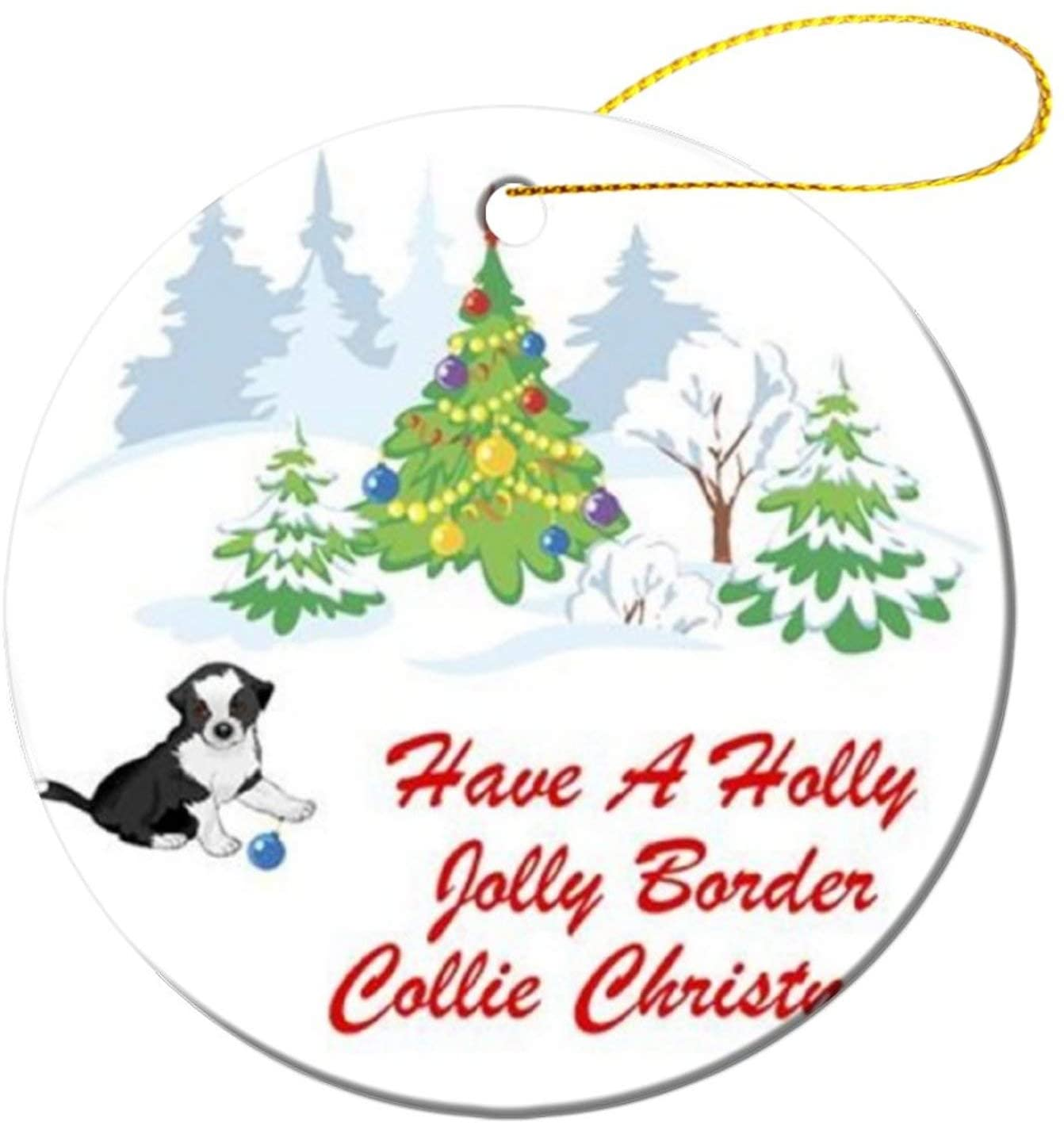 Border Collie Christmas Repeat5475 first christmas hand print ornament, Couples Wedding Present, Floral Wreath 3 Flat Ceramic Ornament with Gift Box