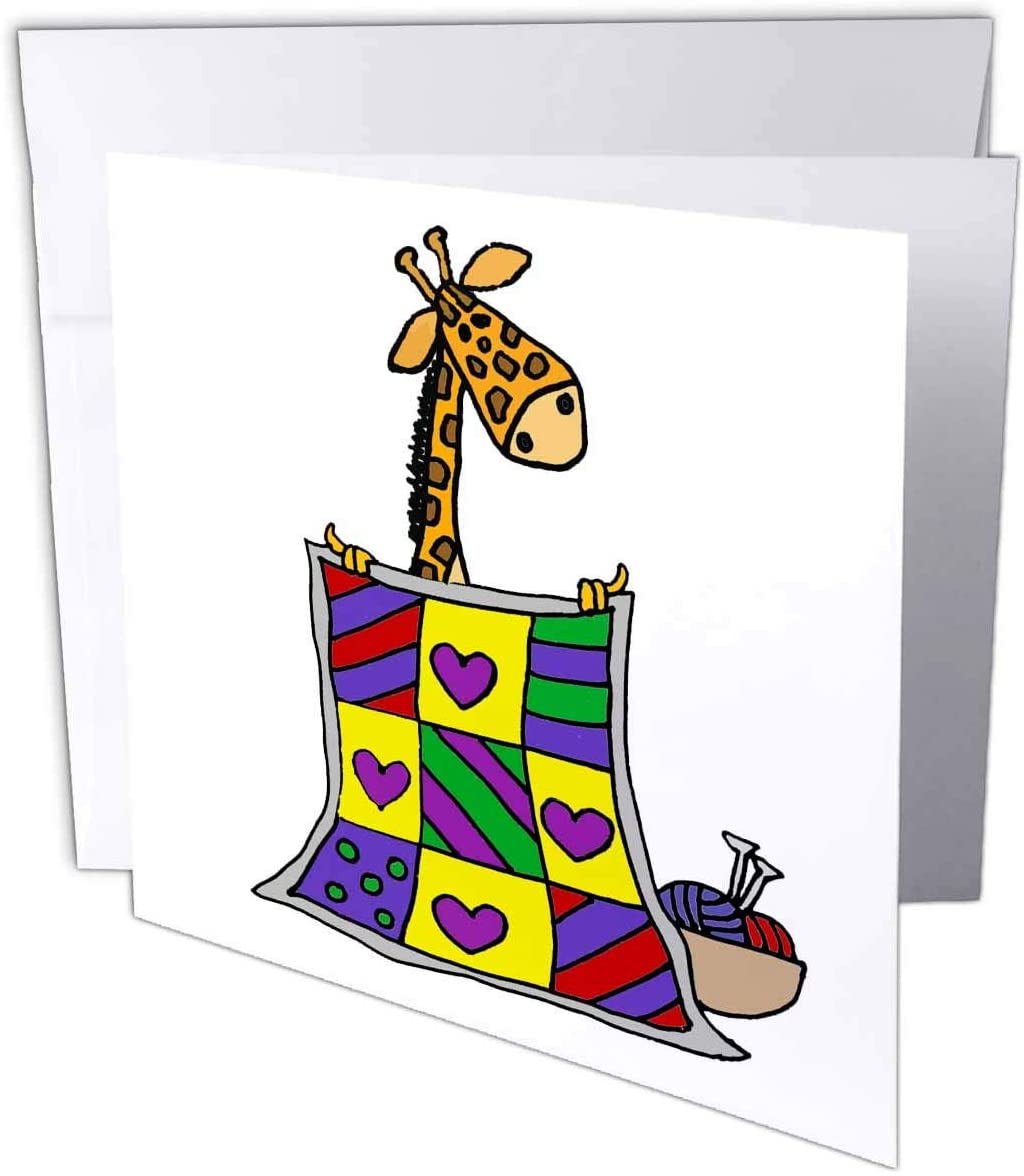 3dRose Funny Cute Giraffe Quilter Creating Quilt Quilting Cartoon - Greeting Cards (gc_328016_5)