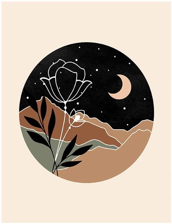 M&M CREATION Moon Botanical Print, Landscape Wall Art, Moon Mountain Flower & Leaf, Nature Home Décor 8x10 Unframed