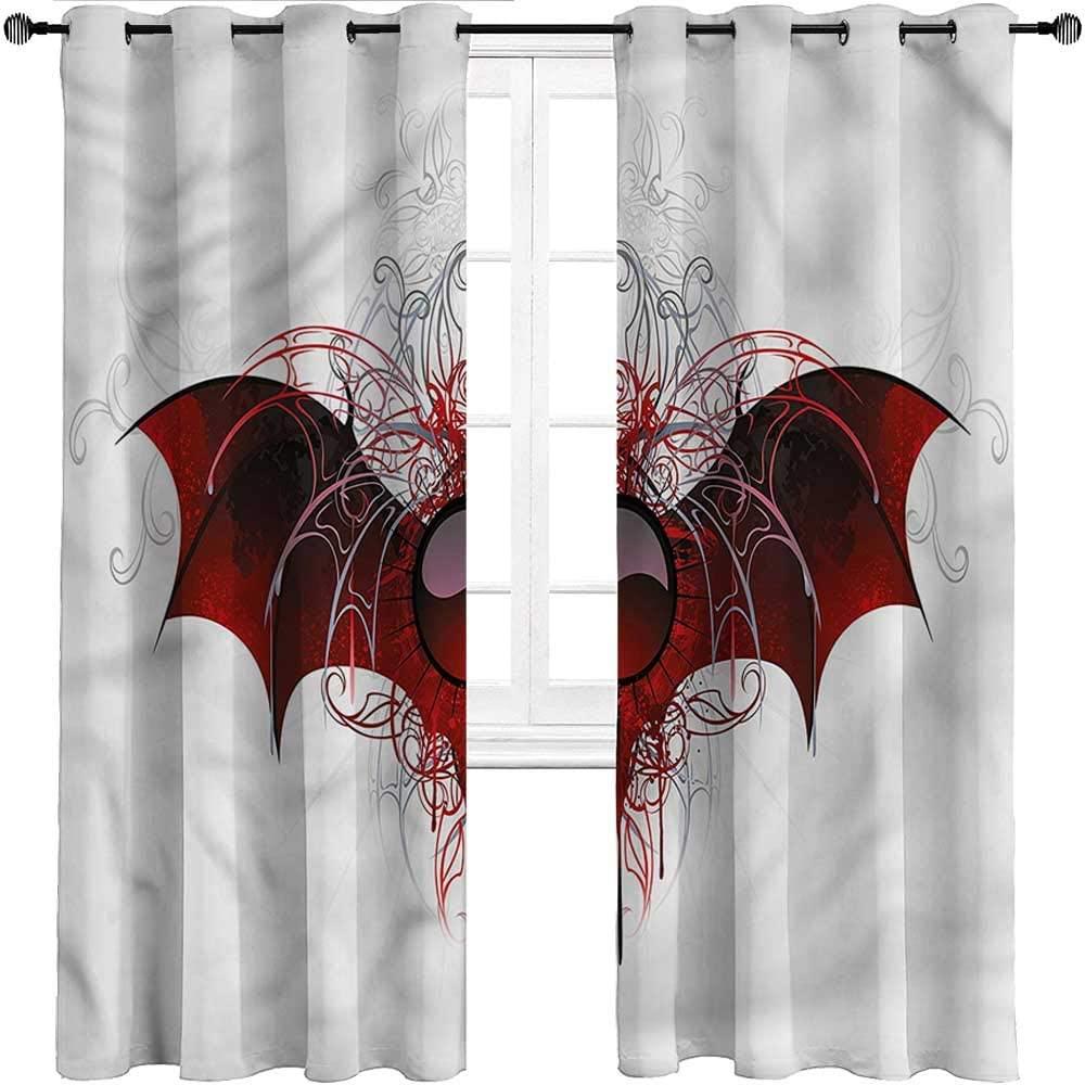 Interestlee Outdoor Curtains, Vampire Top Grommet Window Drapes, Dragon Wings Victorian Set of 2 Panels, 84 Width x 84 Length