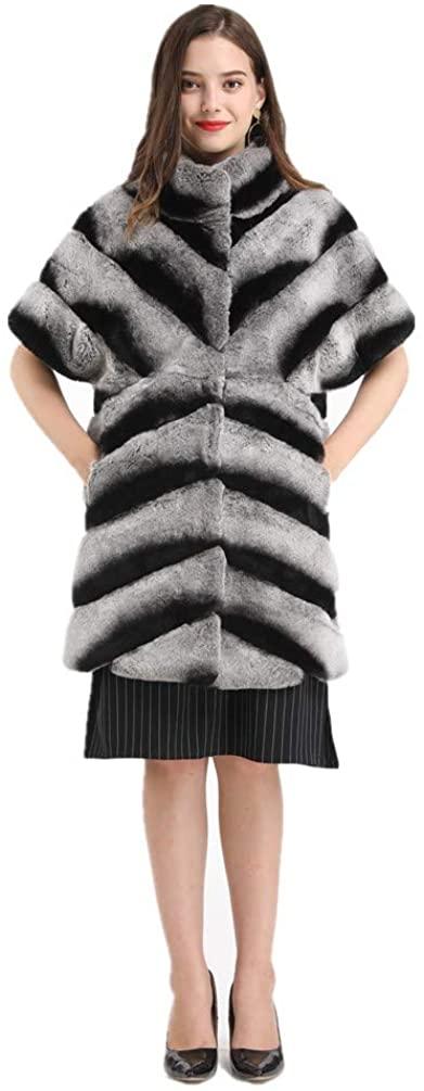 LVCOMEFF Women Genuine Rex Rabbit Fur Chinchilla Long Vest Furry Winter with Short Sleeve