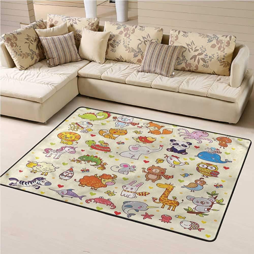 Rugs for Living Room Kids for Kids Yoga Living Room Home Decor Rugs Cartoon Adorable Animals Panda 6' x 9' Rectangle