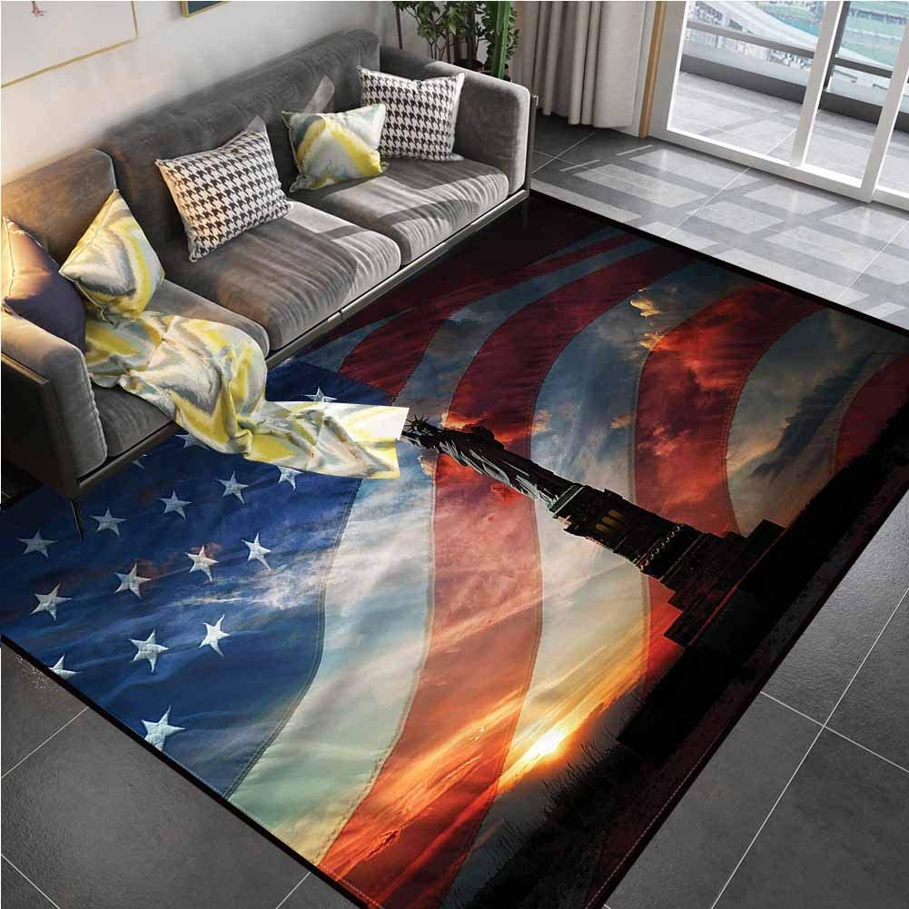 Area Rug Print Large Rug Mat American,Statue of Liberty Monument Kids Rug for Living Room Bedroom Playing Room 6'6