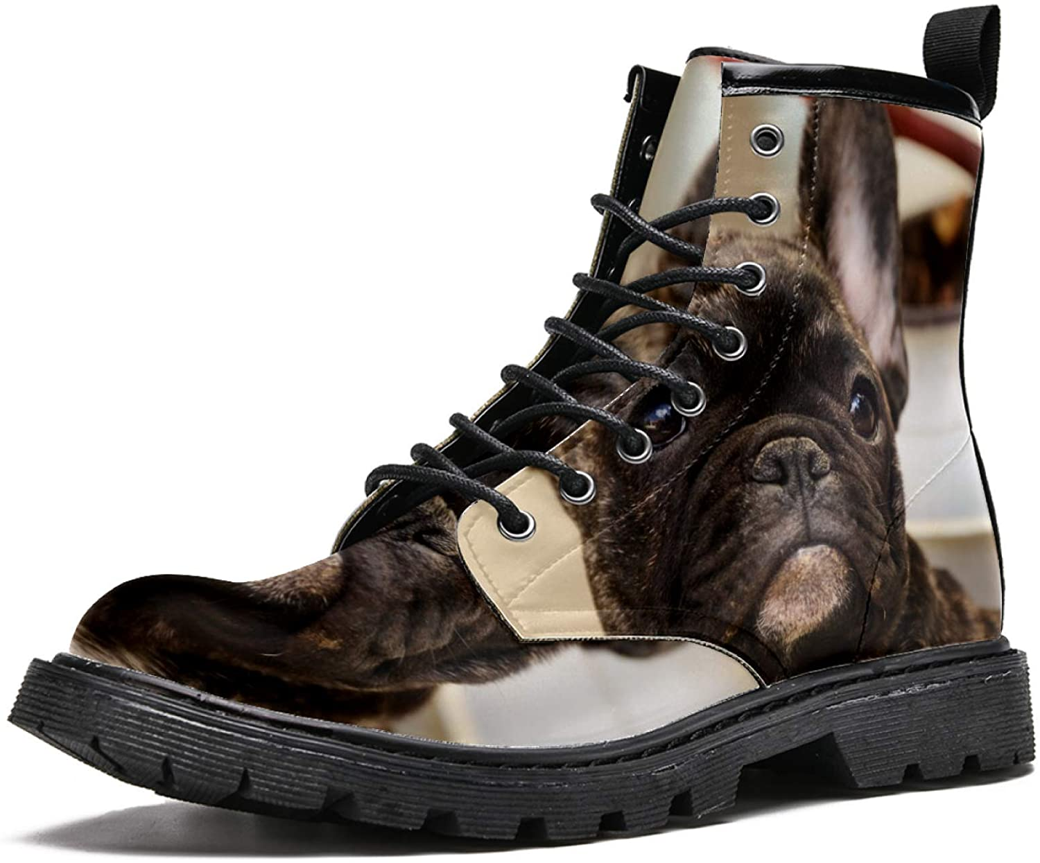 LORVIES Cute Bulldog Men's High Top Boots Lace Up Casual Leather Ankle Shoes