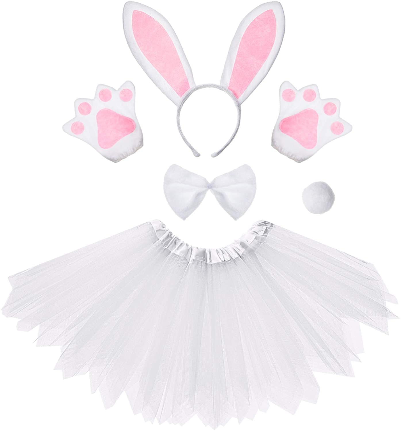 Kids Animal Tutu Skirt Costumes with Bow Tie Tail Gloves for Halloween
