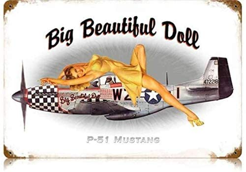 P-51 Pin Up - Pin-Up Girl Metal Vintage Tin Sign 8x12 inch Tin Sign