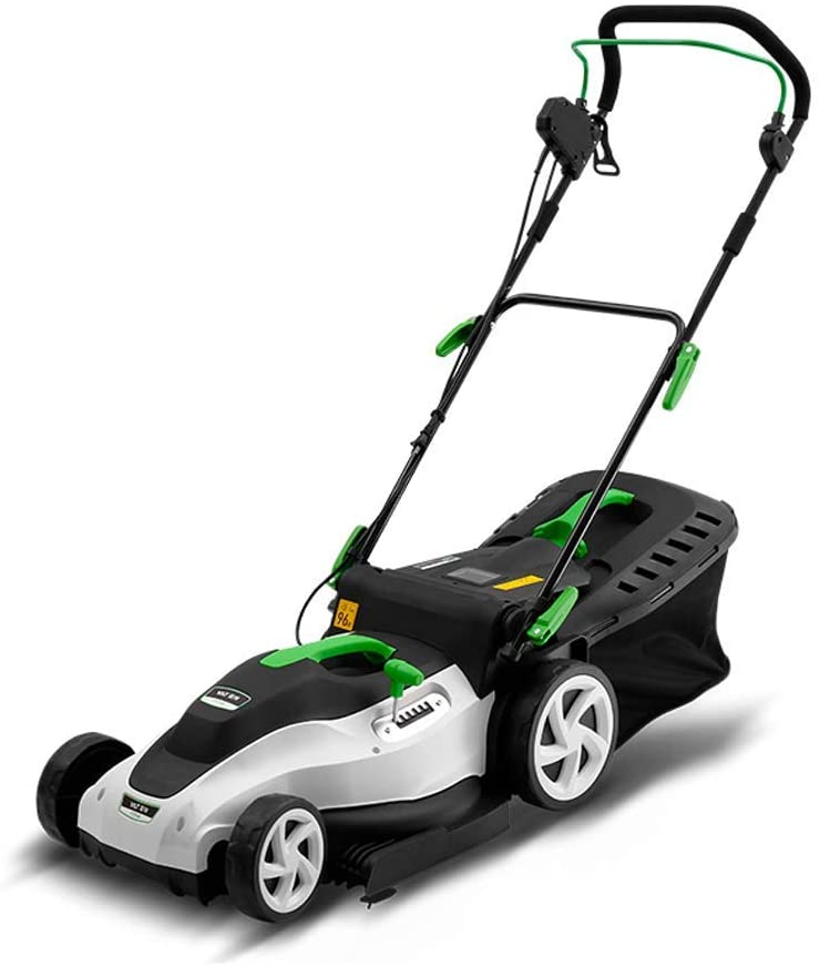 UYZ Electric Lawnmower 1800W, 40Cm Cutting Width, 6 Lever of Cutting Height, Electric Rotary Lawn Mower with Detachable Collection Box, Easy Control,1800W + 60m Power Line